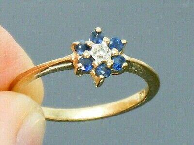 9ct Gold Sapphire & Diamond Hallmarked Vintage ring size H