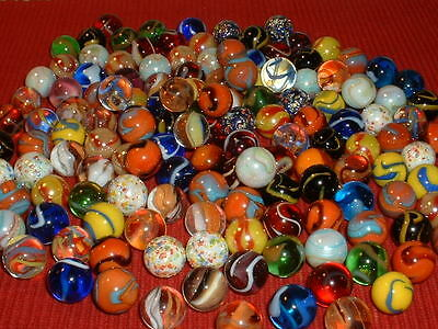 "Marbles Lot 150 5/8"" Assorted Players,Mega,Swirls,Cat's Eye,Guinea,More"
