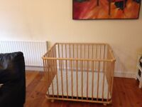 Geuther Lucy Foldable Playpen (Natural/ Stripes)