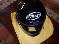 'Suomy' gloss black full-face helmet. Size XL (61-62 cms). Weight 1250gms. Perfect condition.