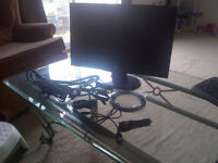 Computer Monitor, Keyboard, Cables, etc.