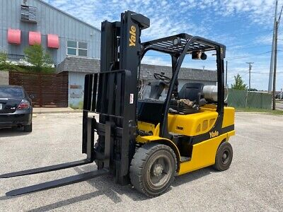 2016 Yale Glp060vxn 6000lbs Used Pneumatic Forklift Triple Mast Sideshift Lp Gas
