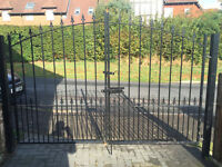 Double iron gate and railings