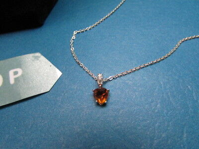 Silver 925 Necklace With Heart Citrine November Birthstone Gemstone Jewelry