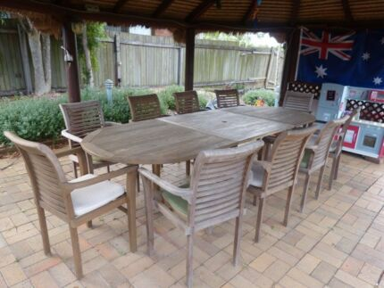 Outdoor table setting and chairs $700