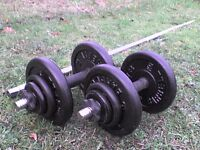 Metal Dumbbell barbell Weights and Bars 81 lb's 36.8 kg approx