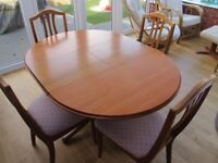 Teak Extendable Round Dining Table and Four Chairs