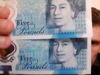 BRAND NEW £5 note (PRINTING ERROR) AK33