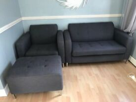 Grey two seater,chair and footstool SOLD ...