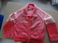 Hand knitted large pink ladies jacket