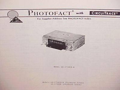 1978 PLYMOUTH ARROW AM-FM RADIO SERVICE MANUAL MODELS AR-1730CR-B & AR-1730CE ()