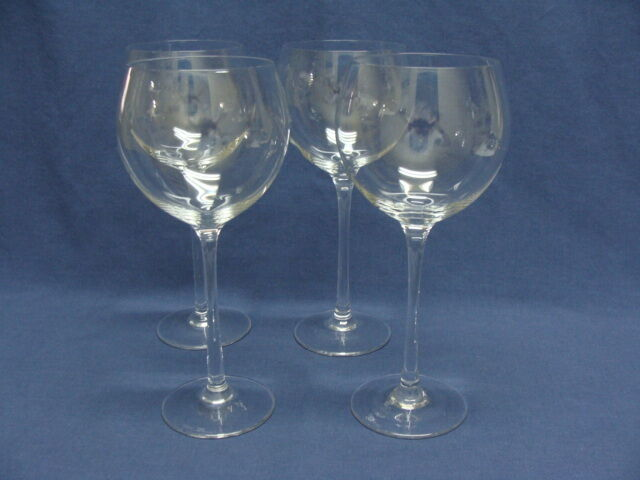 Lenox Crystal 4 Tall Wine Glasses Balloon Type, 16 On. Etched Stamped