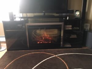 Beautiful black TV stand with Dimplex Electric Fireplace