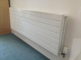 Two Zehnder Nova white double horizontal radiators, 1400 x 500 mm