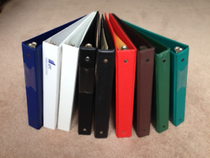 SCHOOL SUPPLIES:   22 Binders, Various Colours, Sizes