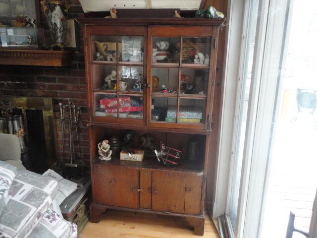 Antique Primitive China Cabinet Closet Cupboard Hutch Bookcase