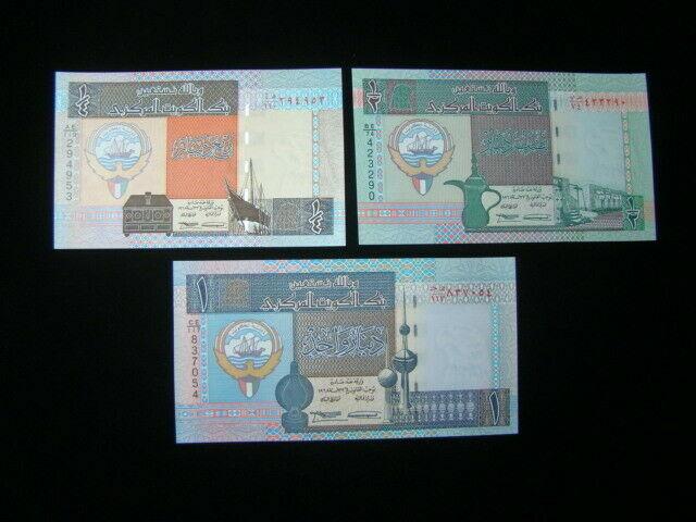 Kuwait 1994 1/4,1/2,1 Dinar Banknotes Gem Unc. Pick #23d-25d