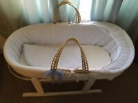**White Moses Basket with stand for Sale**
