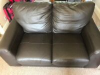 Brown Leather Next Sofa 2 seater + 3 seater