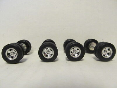 4 DCP 1/64 SCALE  KENWORTH, PETERBILT, INTERNATIONAL CHROME 5 HOLE WHEELS, TIRES
