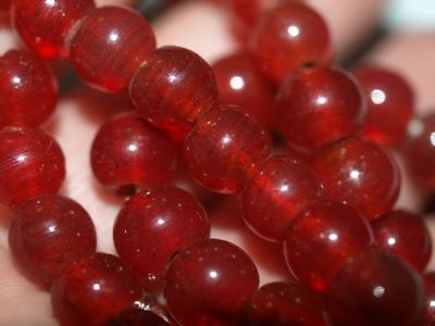 LOT OF 4 Vintage  Chinese Carnelian Peking Glass Round Beads Bead 8mm