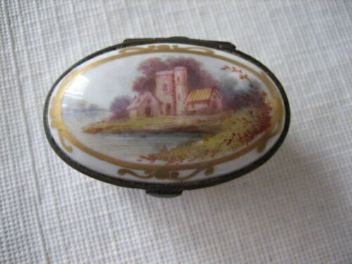 Antique Vintage Sevres French Porcelain Hand Painted Hinged Pill Trinket Box