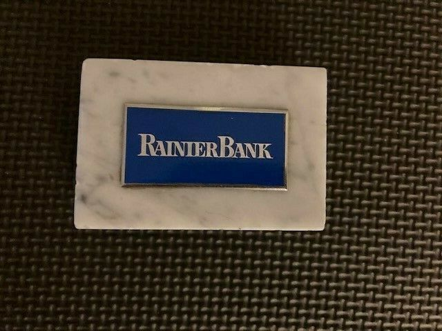 """Vintage Rainier Bank Paperweight- Marble with Metal Plaque, 3"""" x 2"""""""