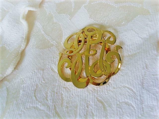 Gold Tone Monogram Style Scarf Ring Clip