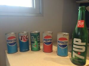 Canettes/Cans PEPSI-COLA, ROYAL CROWN COLA, PEPSI et 7UP