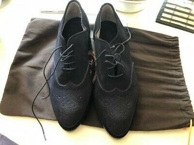 Roberto Del Carlo Woman Navy Suede Lace Up Oxford Wingtip Size 7