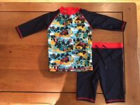 M&S Swimming Rash Vest and Shorts, Age 2-3 years, Immaculate Condition