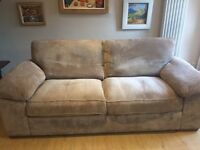 3 Seater Chenille Fabric Sofa in a camel colour with sofa cushions on back, sides and seating.