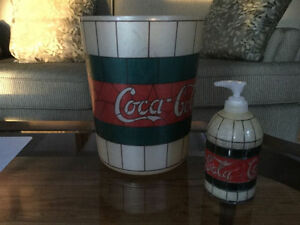 Coca Cola small garbage can and soap dispenser
