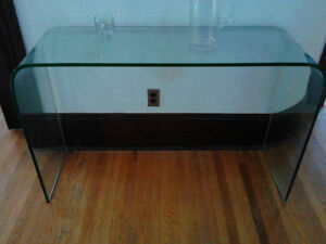 MODERN  Curved GLASS Console Table