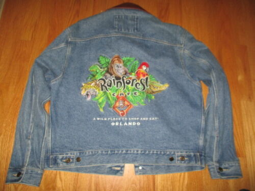 RAINFOREST CAFE Orlando Embroidered (MD) Denim JACKET A Wild Place to Shop & Eat