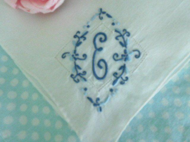 Beautiful BLUE Embroidery * ANTIQUE BRIDAL Monogram E * Vintage WEDDING HANKY