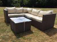 Rattan garden sofa, L Shape Corner Sofa in Grey, Rattan garden furniture