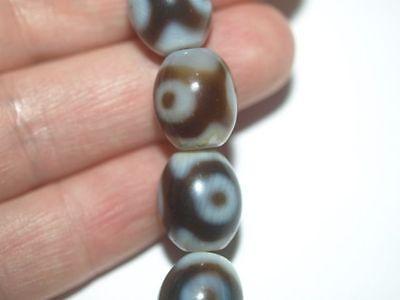 LOT of 3 Dzi Style 3 Heavenly Eye Agate Stone Oval Barrel Shape Bead 14mm x 12mm