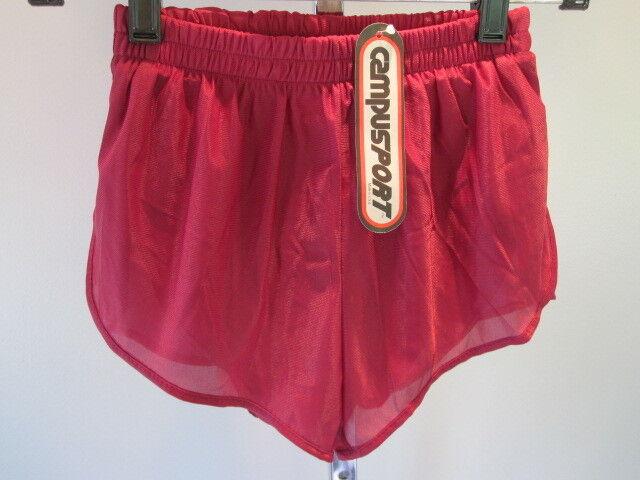 Nos Vintage 1970s Campus Burgundy Red Sport Swim Beach Trunks Shorts Tween Boy S