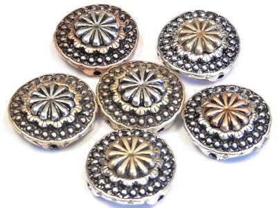 6 - 2 HOLE SLIDER BEADS TRI COLOR METAL WESTERN CONCHO STYLE BEAD COWBOY COWGIRL