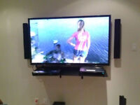 Installation for flat panel TV $48 wall mounting any LCD, LED
