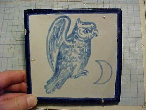 ORIGINAL ANTIQUE TILE - OWL AND MOON