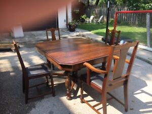 Antique Knechtel Dining Table6 Chairs And Buffetdark Oak