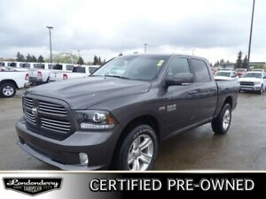 2017 Ram 1500 4WD CREWCAB SPORT Accident Free,  Back-up Cam,  Bl