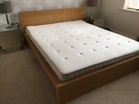 IKEA Real Oak Wood Veneer Double Bed with Mattress | Delivery Avail