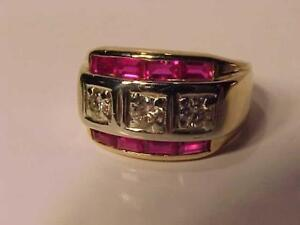 #1206-STUNNING 14K-W/Y/Gold  RUBY& DIAMOND DRESS RING-Size 8 3/8-APPRAISED $3550.00 SELL $895.00-1.5CT total stone weigh