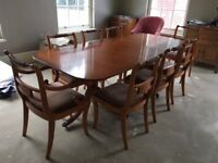 YEW DINING ROOM TABLE PLUS 6 CHAIRS & 2 CARVERS