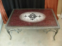 One of a Kind Elegant Cranberry & Cream Coffee Table