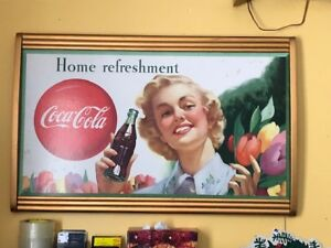 1940's Cadre + carton de  coca cola coke