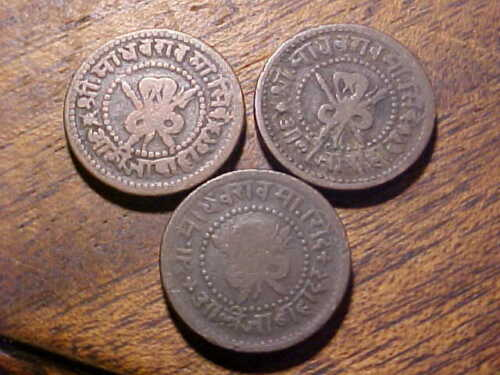 3pc. Lot of India Princely States Gwalior 1/4 Anna